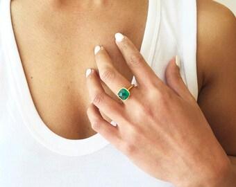 Green Onyx Ring - Gemstone Ring - Cushion Cut Ring - Gemstone Ring - Stacking Ring - Gold Ring
