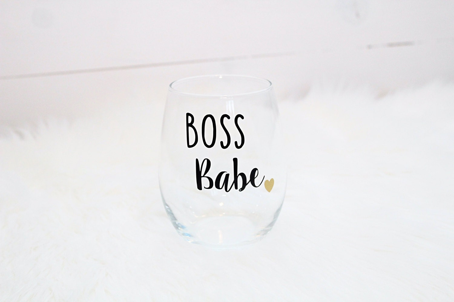 Boss Babe Wine Glass With Heart Stemless Gift