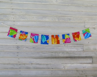 Prayer Flags, Garden Flags, Fabric Bunting, Festival Flags, Boho Room Decor, Hippie, Gypsy, Upcycled, Dorm Room Wall Decor, Tropical