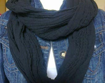 Infinity scarf- soft black muslin, perfect for summer