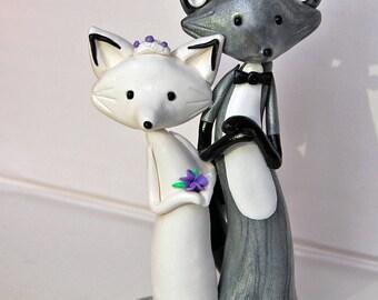 Silver Fox Wedding Cake Topper