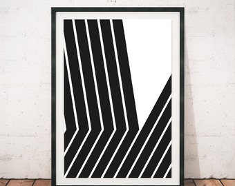Black and white art, Lines poster, Black lines print, Minimalist art, Abstract art, Wall print, Modern poster, Geometric print, A3, Wall art