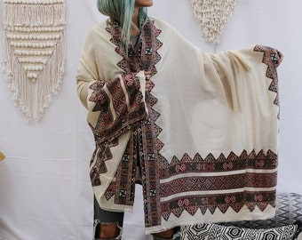 Tribal Wool Shawl With Colorful Embroidery Off White Shawl Wrap For Winter Large Shawl Scarf By Hanamer