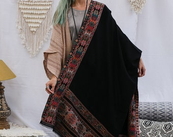 Black Embroidered Wool Shawl Wrap Scarf, Tribal, Indian Shawl, Winter Scarf, Colorful Wrap Shawl, Hanamer