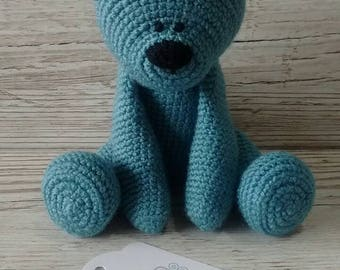 Blue Teddy Bear * Crochet Bear * Baby gift * Blue Crochet Bear