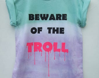 Pastel Grunge Dip Dye Ombre Purple Green Beware Of The Troll Shirt, Tumblr Quote Kawaii Pale Goth Hipster Graphic Tee - Size Medium Only