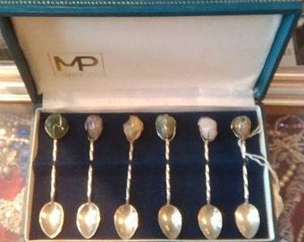 White metal set of 6 spoons with semi precious stones