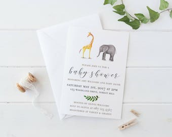 Elephant Baby Shower Invitation, Gender Neutral Baby Shower Invitations, Animal Baby Shower Invitation, Elephant Baby Shower Decorations