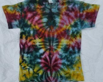 Adult Large earth tone tie dye, size L, tie dye tshirt, tie dye shirt, chaos scrunch, earthy mandala tie dye, festival shirt, Hippie shirt