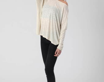 Wide Neck Shirt, Cream Top, Womens Top, Women's Clothing, Boho Top, Long Sleeve Tunic, Fall Tops, Christmas Gifts for Women, Urban Clothing