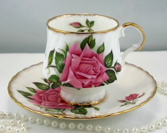 Elizabethan Teacup & Saucer,Large Pink Rose on White Background,Nicely Gilded Edges,Fine English China made in 1960s.
