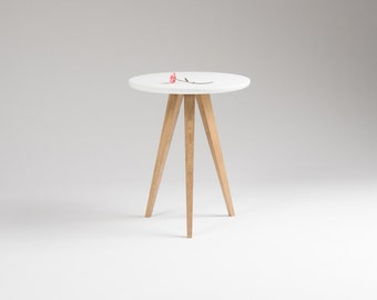 Round white nightstand, small accent table, side table with three solid oak legs