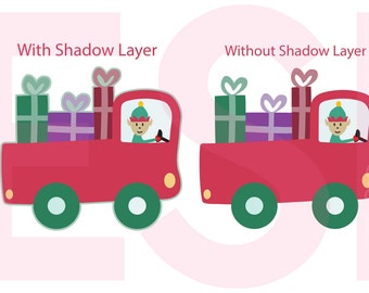 Christmas Truck svg, with elf - Elf svg, Christmas svg files, SVG, DXF, EPS & Png, for use with Silhouette and Cricut Design Space