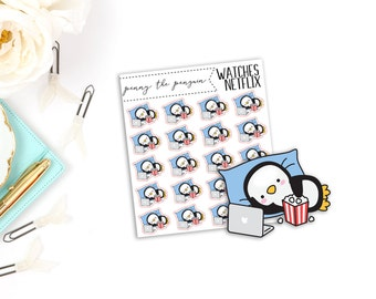 Penny the Penguin Watches Netflix | Character Stickers