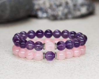 His-and-her bracelet Couples bracelet Gemstone Amethyst bracelet Matching bracelet-for-Couples gift-for-boyfriend gift-for-girlfriend gift