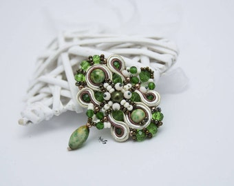 Soutache Green Brooch Boho Dangle Jewelry Vintage Beaded Brooch Statement Pin Gift For Mom