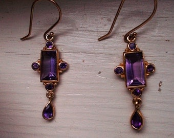 Art Deco revival genuine amethyst and solid 9k yellow gold earrings