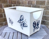 Vintage Metal Basket Magazine Rack, Kindling Box, Bin, Decorative Planter with Embossed Blue Butterfly Design