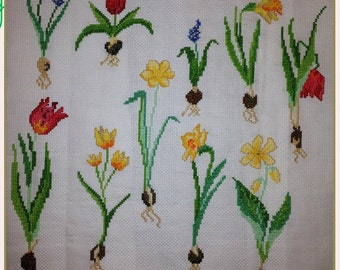 Hand-sewn Cross Stitch Art: Plants
