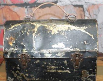 Vintage Metal Lunch Box, Metal Tool Box, Metal Lunch Pail, Old Lunch Pail, Vintage Lunch Pail, Vintage Black Metal Lunch Pail, US Made