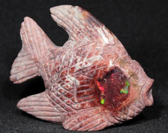 Opal Rhyolite Fish Carving - Mexico