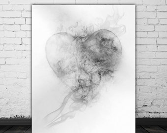 Anniversary Wall Art Love Heart Decoration, Smoke Art, Fireman Gift, White Wall Art Abstract Art Print, Love Artwork, Valentines Day Gift