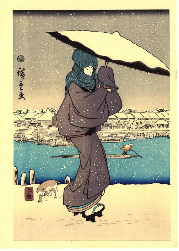 "Japanese Ukiyoe, Woodblock print, antique, Hiroshige, ""Evening Snow at Asakusa (left)"""