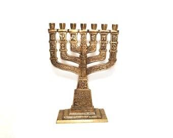 jewish menorah, antique menorah Hannukah Gift Antique  judaica collectors menorah, Judaic Menorah with Star Of David