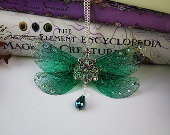 Fancy Forest Green Fairy Pendant - Gossamer Fairy/Faerie Butterfly Cicada Wing Statement Necklace