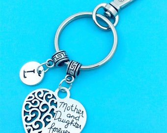 Mother & Daughter Keychain, Mother And Daughter Key Chains, Custom Any Charm, Mother Keyring, Personalized Keychain, Daughter Key Rings, BFF