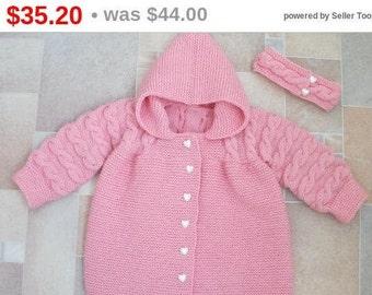 Knitted jacket hooded and headband, pink, for girl 3 year, warm coat, merino wool cardigan 3T, birthday gift, headband hearts, pink sweater