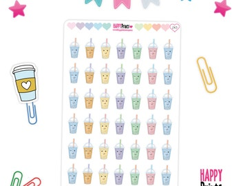 Smoothies Planner Stickers, Frozen Drink Stickers, Kawaii Smoothies