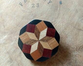 SALE - Vintage Geometric Brooch -  Wood Inlay - Geometric Accessories - Hexagon Shape