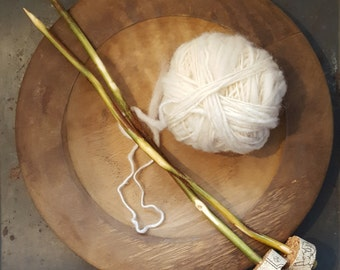 "10"" size 9 natural branch knitting needles"