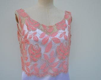 Married lace top, crop top lace pink