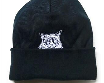 Grumpy Cat Middle Finger Salute Knit Fleece Lined Winter Hat