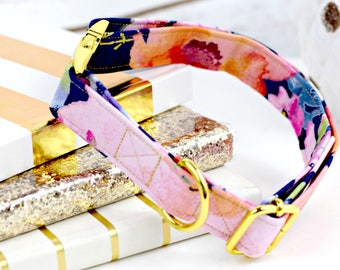 Dog Collar - Watercolor Floral & Butterflies on Navy - Gold Metallic Thread - Yellow Gold Hardware