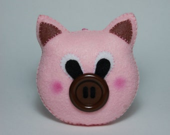 Handmade Small Felt Pig Stuffed Animal, Pocket stuffed toy, cute gift