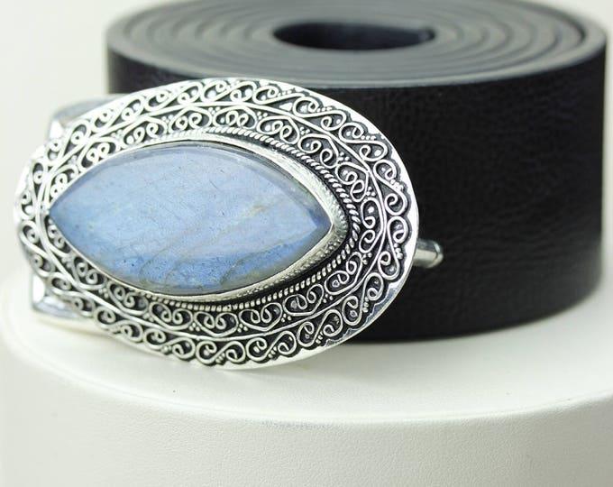 Marquise Shaped Blue Fire LABRADORITE Vintage Filigree Antique 925 Fine S0LID Sterling Silver + Copper BELT Buckle T140