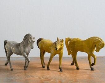 Set of 3 Vintage Metal Horse Figurines, Durham Industries, 1976