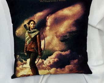 The Hunger Games Katniss Everdeen t shirt made into a decorative pillow cover. Movie bedding made from Hunger games inspirational tshirt.