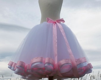 Ribbon Trimmed Tutu - Bouncy Tulle Skirt - Summer Fashion Skirt - Ribbon Edge Tutu