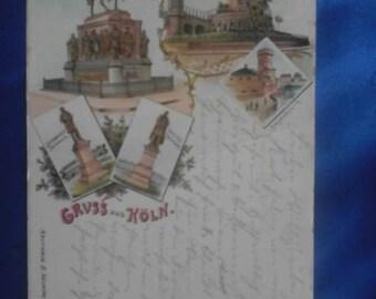 Vintage German 1898 Postcard, Greetings from Koln (Cologne), Used