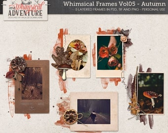 Fall autumn digital scrapbook elements, digital download, scrapbooking, vintage frames, templates, layered frames, artsy, mushroom, paint