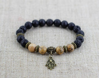 Hamsa bracelet Hamsa Jewelry Protection bracelet Spiritual jewelry Lava bead bracelet Buddhist jewelry Good luck gift Mother day gift Unisex