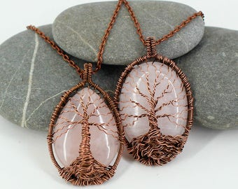 Family tree necklace Boho necklace Tree of life pendant Copper jewelry Wire wrapped jewelry Mom birthday gift-for-Mothers day gift-for-her