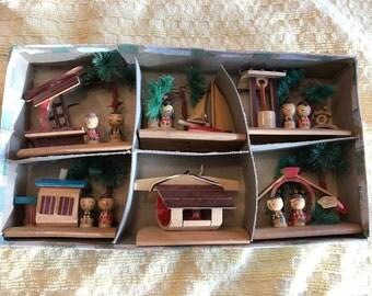VINTAGE! Kokeshi Japanese wooden dioramas