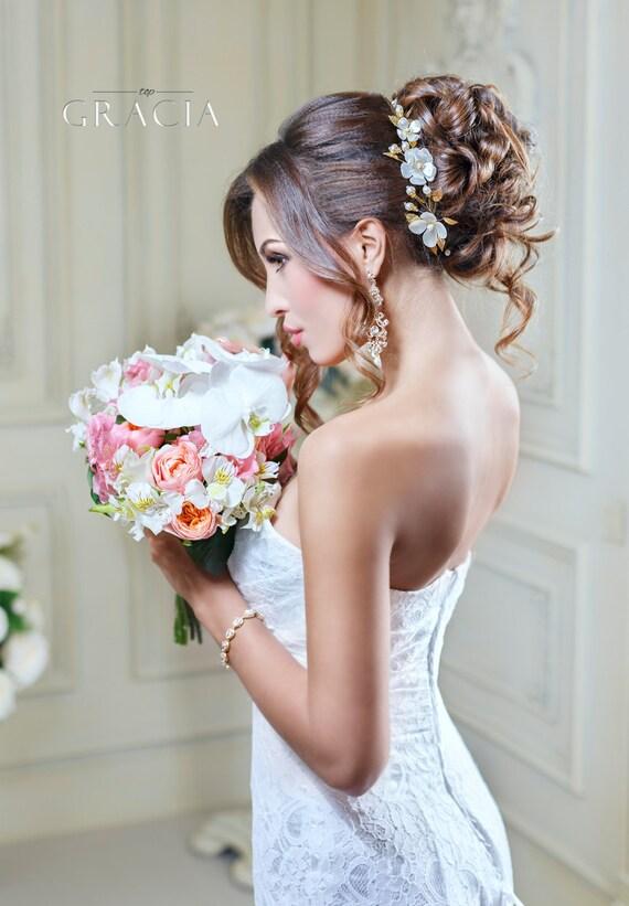 Flower Wedding headband Bridal Flower crown hair piece Wedding pearl headpiece Bridal floral crown headband Bridal flower headpiece