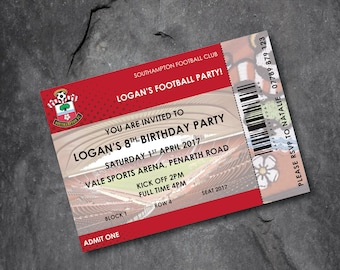 Southampton -  Football invitations - kids party - personalised - Free P&P
