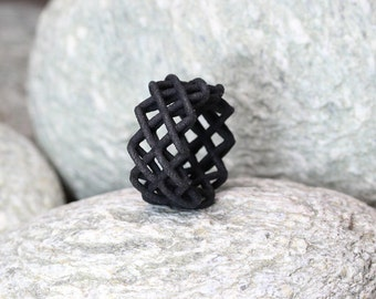 Geometric Ring Black, Architectural Ring, Embroidery Ring, Contemporary Jewelry, Cross Ring Black, Structural Ring, Minimalist Jewelry